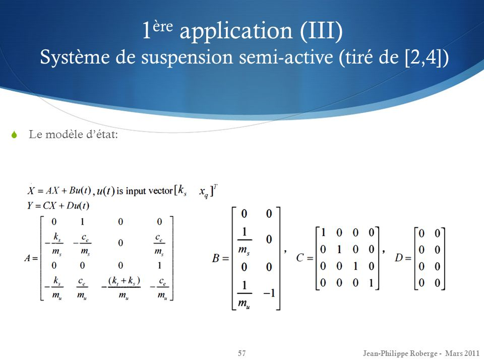 1ère application (III) Système de suspension semi-active (tiré de [2,4])